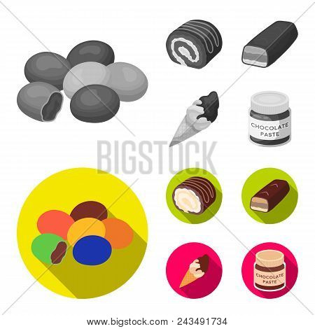 Dragee, Roll, Chocolate Bar, Ice Cream. Chocolate Desserts Set Collection Icons In Monochrome, Flat