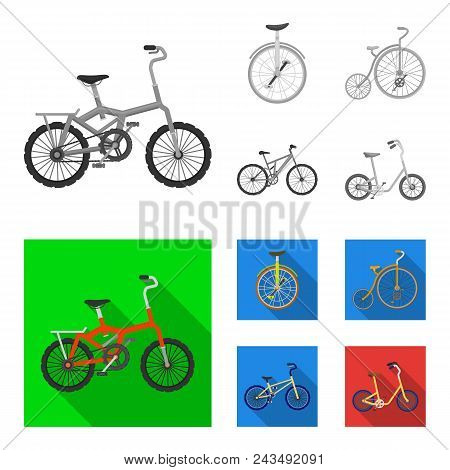 Retro, Unicycle And Other Kinds.different Bicycles Set Collection Icons In Monochrome, Flat Style Ve
