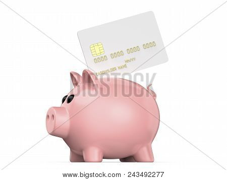 Debit Plastic Card Or Credit With Pink Piggy Bank Render Of Blank White Template For Mock Up And Presentation Design Isolated On Background