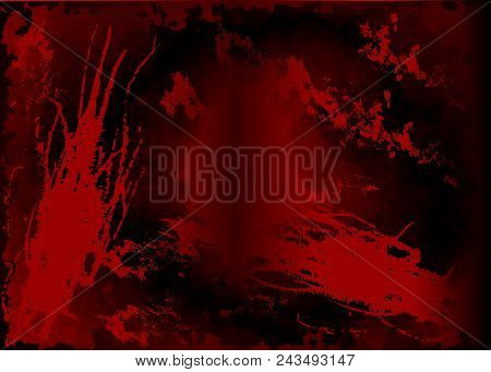 Dark Red Watercolor Background, Monochrome Screen Saver. Abstract Black Background With Scratches. V