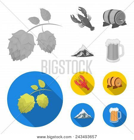 Alps, A Barrel Of Beer, Lobster, Hops. Oktoberfest Set Collection Icons In Monochrome, Flat Style Ve