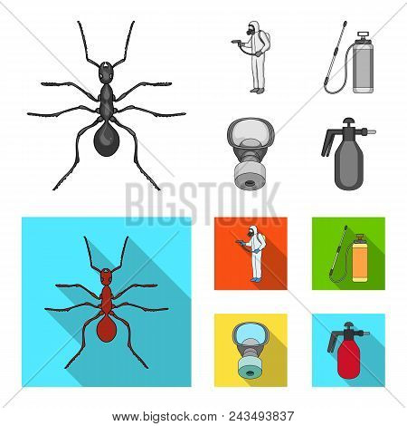Ant, Staff In Overalls And Equipment Monochrome, Flat Icons In Set Collection For Design. Pest Contr