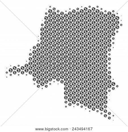 Football Ball Democratic Republic Of The Congo Map. Vector Geographic Scheme In Grey Color. Abstract