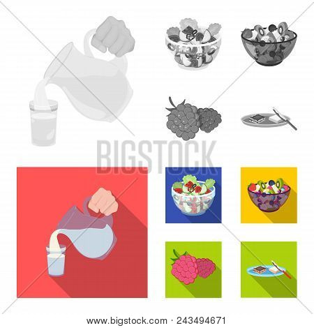 Fruit, Vegetable Salad And Other Types Of Food. Food Set Collection Icons In Monochrome, Flat Style