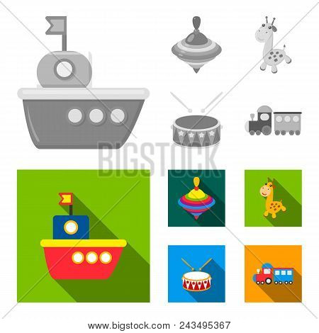 Ship, Yule, Giraffe, Drum.toys Set Collection Icons In Monochrome, Flat Style Vector Symbol Stock Il