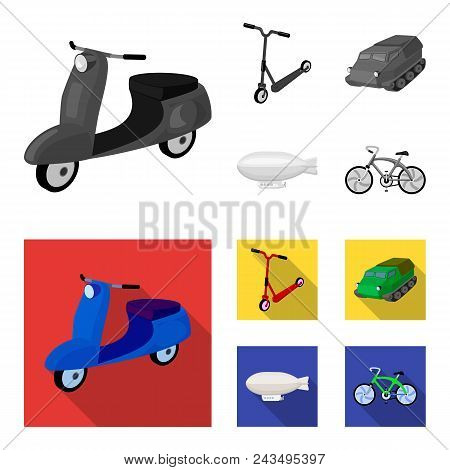 Motorcycle, Scooter, Armored Personnel Carrier, Aerostat Types Of Transport. Transport Set Collectio