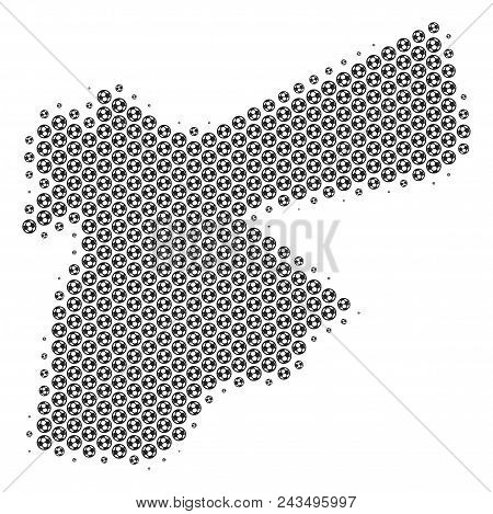 Football Ball Jordan Map. Vector Territory Plan In Grey Color. Abstract Jordan Map Composition Is Co