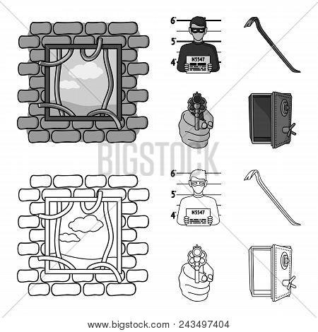 Photo Of Criminal, Scrap, Open Safe, Directional Gun.crime Set Collection Icons In Outline, Monochro