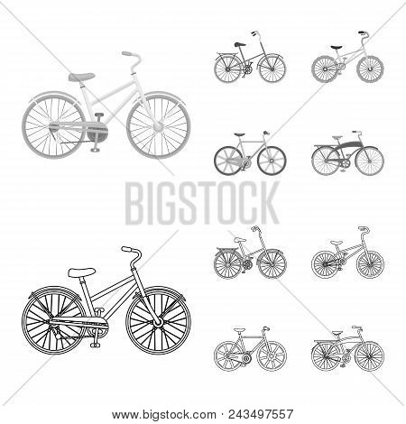 Children Bicycle And Other Kinds.different Bicycles Set Collection Icons In Outline, Monochrome Styl