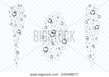 Underwater air bubbles flow set isolated on transparent background. Realistic fizzing oxygen bubbles under water. Fizzy drink or champagne gas. Vector. poster