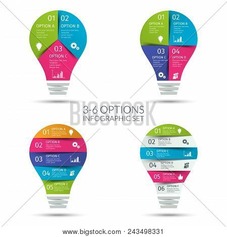 Modern Colorful Light Bulb Infographic Set. Business Concept With 3 4 5 6 Options, Parts, Steps Or P