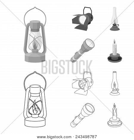 Searchlight, Kerosene Lamp, Candle, Flashlight.light Source Set Collection Icons In Outline, Monochr