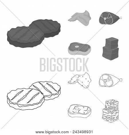 Chicken Wings, Ham, Raw Steak, Beef Cubes. Meat Set Collection Icons In Outline, Monochrome Style Ve