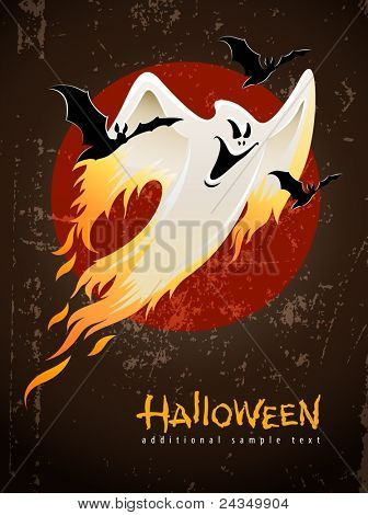 flying and burning burning white halloween ghost vector illustration