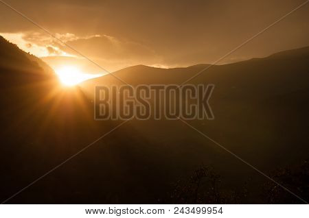 Beautiful Landscape In The Mountains With The Sun At Dawn. Mountains At The Sunset Time. Azerbaijan,