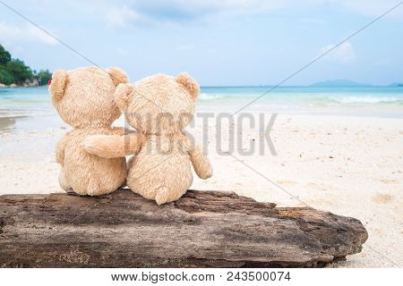 Two Teddy Bears Sitting On The Timber With Sea View. Love And Relationship Concept. Beautiful White