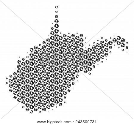 Football Ball West Virginia State Map. Vector Territory Plan In Gray Color. Abstract West Virginia S