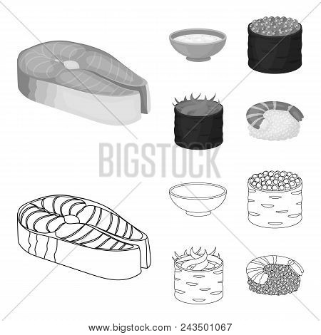 Bowl Of Soup, Caviar, Shrimp With Rice. Sushi Set Collection Icons In Outline, Monochrome Style Vect