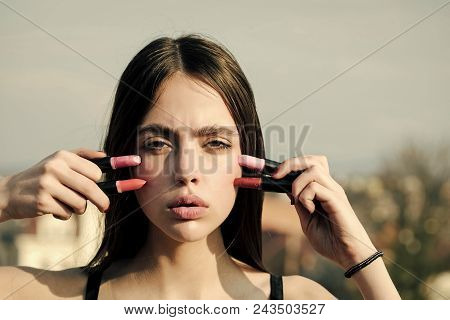 Face Girl For Magazine Cover. Girl Face Portrait In Your Advertisnent. Model Posing With Pink Lips A