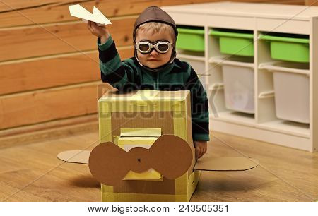 Child Childhood Children Happiness Concept. Dream, Career, Adventure, Education. Air Mail Delivery,