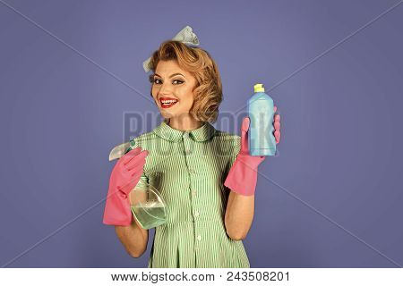 Woman Face Beauty. Cleanup, Cleaning Services, Wife, Gender. Housekeeper In Uniform With Clean Spray