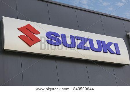Wetzlar - March 25 2018: Suzuki Motor Corporation Logo. Suzuki Motor Corporation Is A Japanese Multi