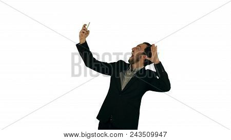 Businessman Taking A Selfie On White Background Isolated. Professional Shot