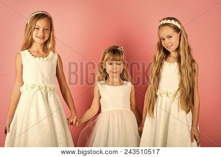 Kids Playing - Happy Game. Children Girls In Dress, Family And Sisters. Children Embrace, Sisters An