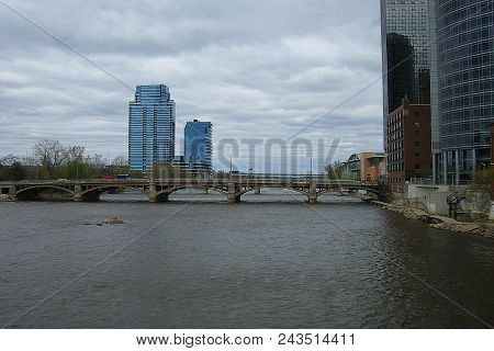 Grand Rapids, Michigan - April 17: Buildings On The Banks Of The Grand River On April 17, 2010 In Gr