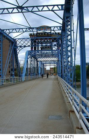 Grand Rapids, Michigan - April 17: Iconic Blue Bridge On The Grand River On April 17, 2010 In Grand