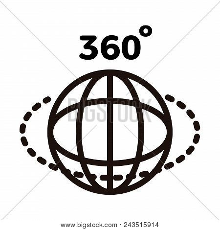 360 Degree Panorama View For Photo And Video Icon. Vector Thin Line Illustration With Globe, Dotted
