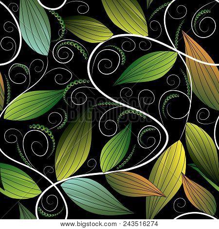 Floral Leafy Greens Hand Drawn Seamless Pattern. Repeating Flourish Black Background Wallpaper Illus