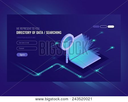 Directory of data, information serching result, book with magnifying glass, search engine optimization, information technologies isometric vector ultraviolet poster
