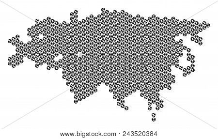 Football Ball Europe And Asia Map. Vector Territory Scheme On A White Background. Abstract Europe An