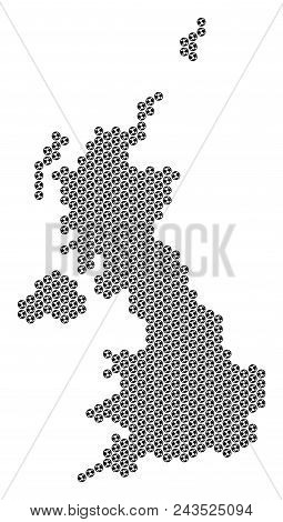 Football Ball United Kingdom Map. Vector Territorial Plan On A White Background. Abstract United Kin