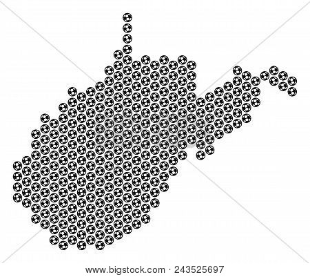 Football Ball West Virginia State Map. Vector Territorial Scheme On A White Background. Abstract Wes