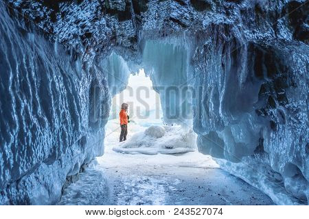 Frozen Ice Cave At Frozen Lake Baikal In Siberia, Russia