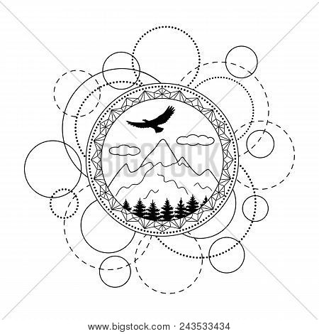Abstract Techno Pattern With Mountains, Trees And Eagle On White Background. Modern Tattoo, Textile
