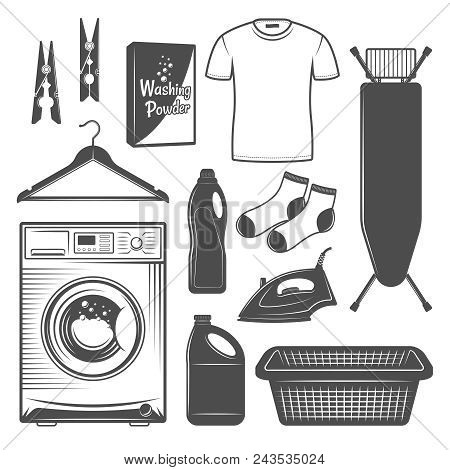 Laundry Room Or Laundry Service Set Of Vector Icons, Silhouettes, Design Elements In Black And White