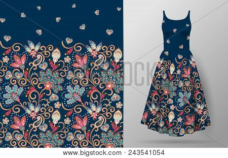 Seamless Vertical Fantasy Flowers Pattern. Hand Draw Floral Background On Dress Mockup. Vector. Trad