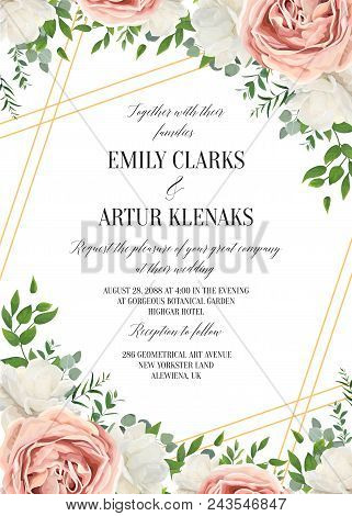 Wedding Floral Invite, Invtation Card Design. Watercolor Lavender Pink Rose, White Garden Peony Flow