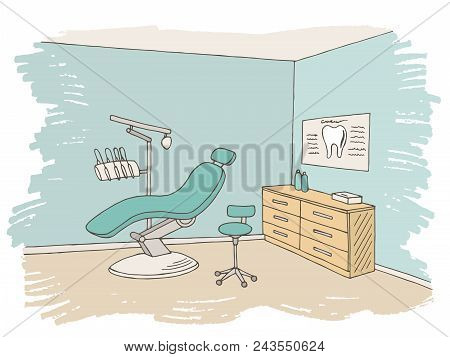 Dentist Office Clinic Graphic Color Sketch Interior Illustration Vector