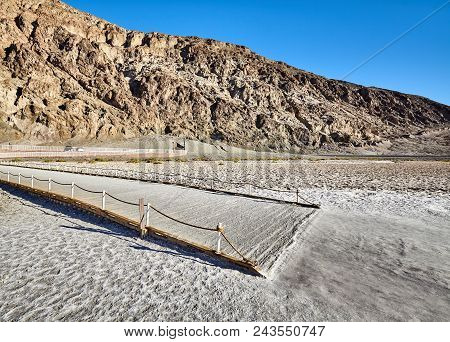 Tourist Viewing Platform At Badwater Basin, The Lowest Point In North America With A Depth Of 282 Ft