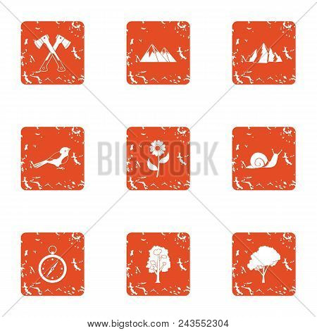 Alpine Icons Set. Grunge Set Of 9 Alpine Vector Icons For Web Isolated On White Background