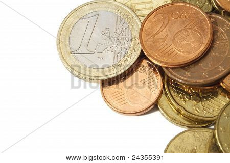 Pile Of Circulated Modern Euro Coins With Copy Space