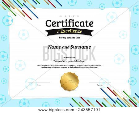 Certificate Template In Football Sport Theme With Border Frame, Diploma Design