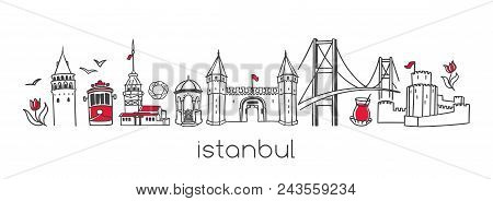 Istanbul. Hand Drawn Vector Illustration Of Famous Turkish Landmarks And Symbols. Set Of Doodle Outl