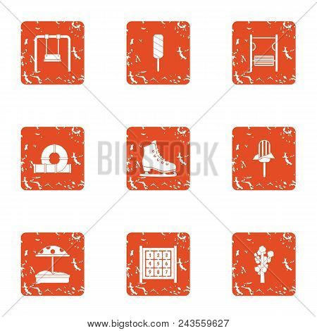 Kid Courtyard Icons Set. Grunge Set Of 9 Kid Courtyard Vector Icons For Web Isolated On White Backgr