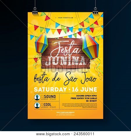 Festa Junina Party Flyer Illustration With Typography Design On Vintage Wood Board. Flags And Paper