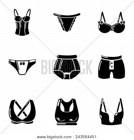 Undergarment Icons Set. Simple Set Of 9 Undergarment Vector Icons For Web Isolated On White Backgrou